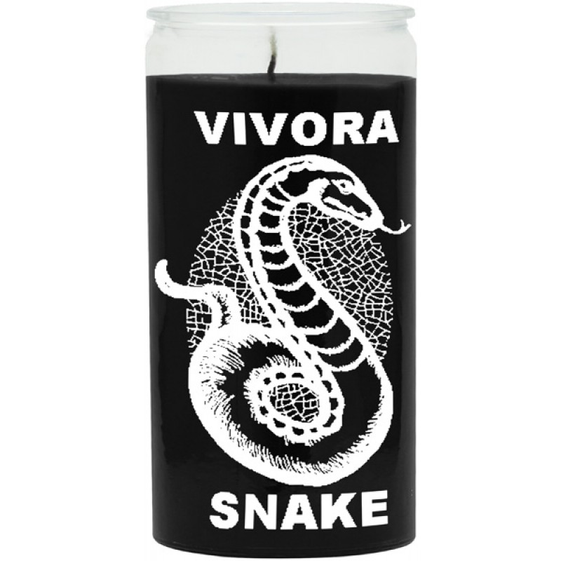 Snake Black Candle - Silkscreen 1 Color 14 Day Glass Candle